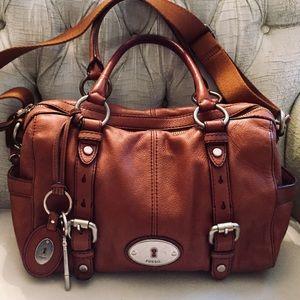 FOSSIL Brown Leather Large Satchel Shoulder Bag